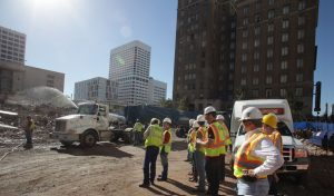 Aggies visit the Imploded Macy's site during their tour of Cherry Companies